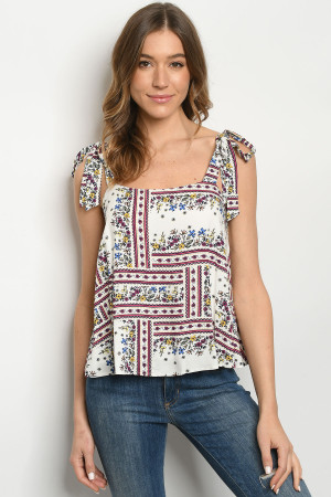 S8-9-2-T6479 IVORY FLORAL TOP 2-2-2