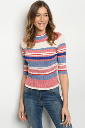 S8-10-2-T6964 RED MULTI STRIPES TOP 2-2-2