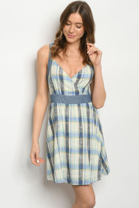 S8-9-3-D7411 GREEN BLUE CHECKERED DRESS 2-2-2