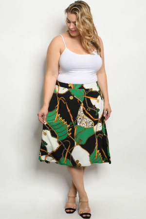 S19-10-2-S6653X GREEN BLACK WITH CHAIN PRINT PLUS SIZE SKIRT 1-3-2-1