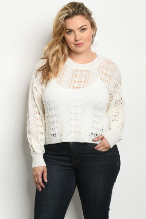 S19-10-2-T6376X IVORY PLUS SIZE TOP 2-2-1