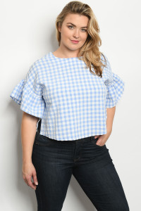 S7-7-2-T6213X BLUE WHITE CHECKERED TOP 1-2-2-1