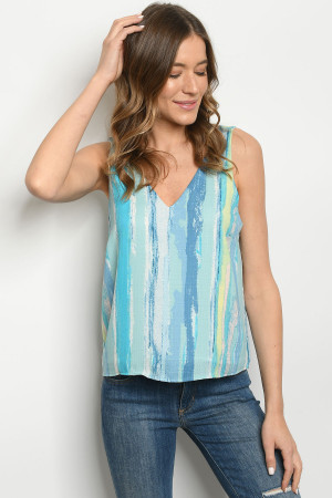 C3-B-1-T6755 BLUE STRIPES TOP 2-2-2