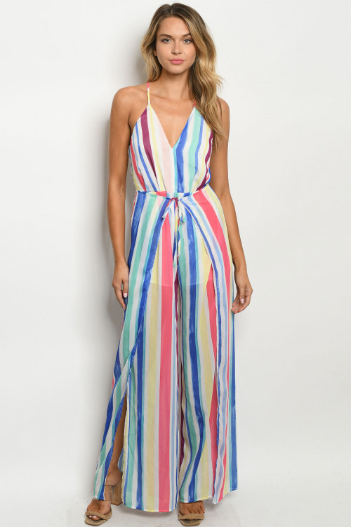 S15-11-1-J21126 MULTI COLOR STRIPES JUMPSUIT 3-2-1