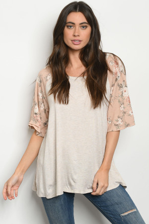 C66-A-1-T9475 OATMEAL BLUSH FLORAL TOP 3-2-3