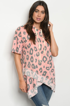 C71-A-1-T9396 CORAL ANIMAL LEOPARD PRINT TOP 2-2-2
