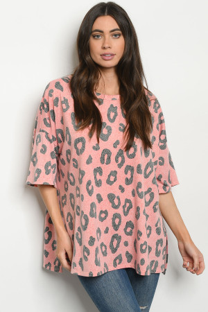 C75-A-1-T9340 CORAL ANIMAL LEOPARD PRINT TOP 2-2-2