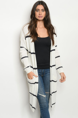S9-20-1-C2309 WHITE NAVY STRIPES CARDIGAN 2-2-2