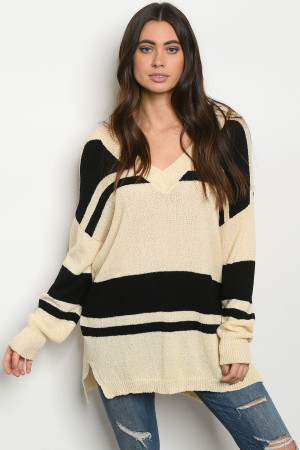 S13-12-3-S2075 CREAM BLACK SWEATER 2-2-2