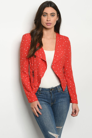 S22-12-4-B3207 RED WHITE PRINT BLAZER 2-2-2