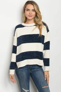 S11-9-1-S0093 IVORY NAVY SWEATER 3-2-1