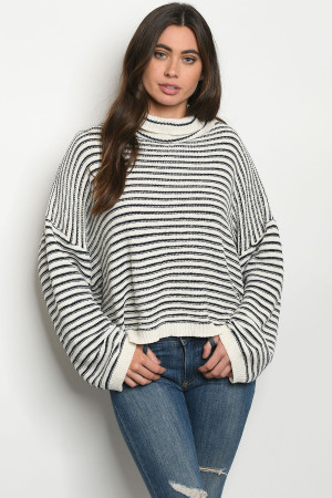 S12-4-1-S0001 IVORY NAVY STRIPES SWEATER 3-2-1