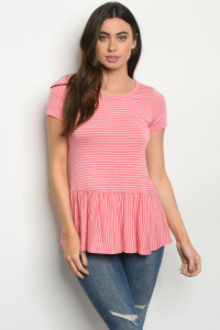 C18-B-1-T0849 CORAL STRIPES TOP 2-2-2