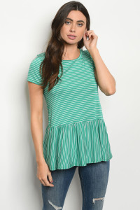 C22-B-1-T0849 GREEN STRIPES TOP 2-2-2