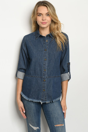 S15-11-2-T1404 DARK BLUE DENIM TOP 4-3-2