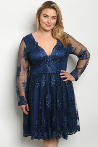 S5-3-1-D27452X NAVY EMBROIDERY PLUS SIZE DRESS 2-2-2
