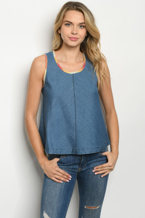 S25-7-3-T00484 INDIGO DENIM TOP 1-3-1-1