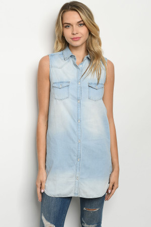 S13-12-1-T74 LIGHT BLUE DENIM TOP 2-2-2
