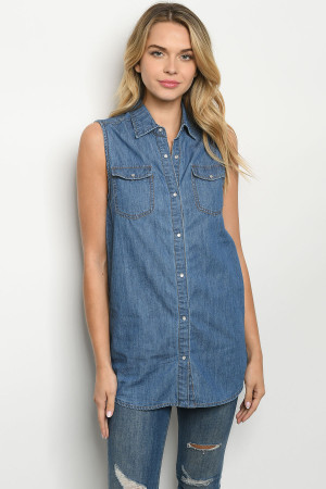 S13-8-3-T120 BLUE DENIM TOP 2-2-2