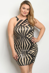 C48-A-3-D8359X BLACK NUDE WITH SEQUINS PLUS SIZE DRESS 2-2-2  ***WARNING: California Proposition 65***