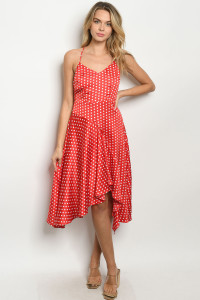 S21-2-2-D75030 RED WHITE POLKA DOTS DRESS 2-2-2