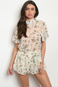 C77-A--1-R3776 IVORY FLORAL ROMPER 3-2-1