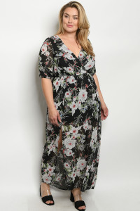 C69-A-1-D7862X BLACK FLORAL PLUS SIZE DRESS 2-2-2