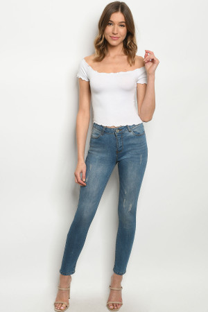 S24-5-1-J0372 MEDIUM BLUE DENIM JEANS 1-1-2-2-2-2-1-1