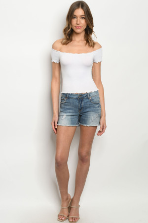 S25-5-2-S8273 BLUE DENIM SHORTS 3-2-1