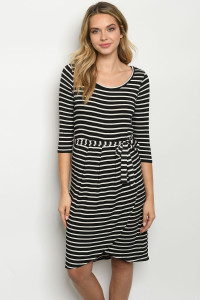 C89-A-1-D0905 BLACK STRIPES DRESS 2-2-2