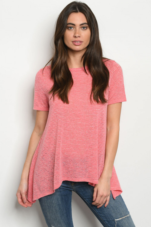 C11-B-1-T8024 CORAL STRIPES TOP 2-2-2