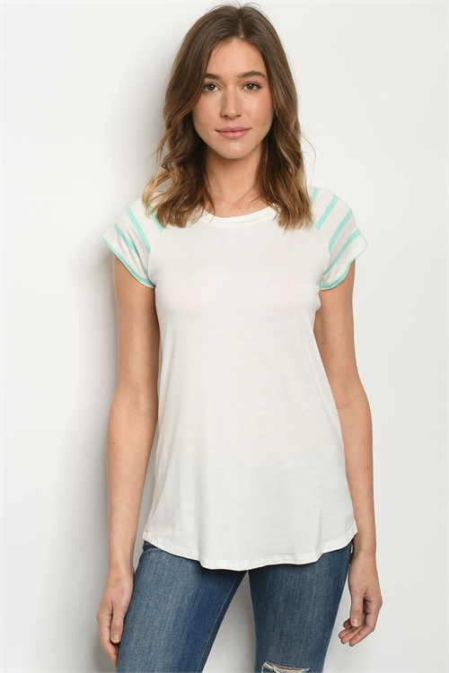 C29-A-1-T1506011 IVORY MINT STRIPES TOP 2-2-2