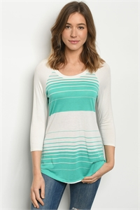 C25-A-1-T1601059 IVORY JADE STRIPES TOP 2-2-2