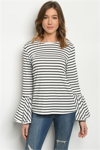 S13-7-2-T633 WHITE BLACK STRIPES TOP 2-2-2