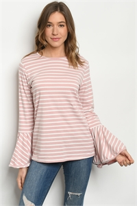 S13-8-1-T633 PINK WHITE STRIPES TOP 2-2-2