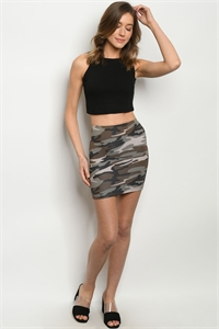 S21-12-4-S8229 OLIVE CAMOUFLAGE SKIRT 3-2-1