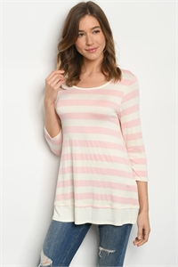 C78-A-1-T0114204 PINK IVORY STRIPES TOP 2-2-2