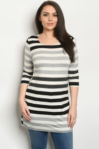 C73-A-1-D411133X IVORY BLACK STRIPES PLUS SIZE TOP 3-2-1