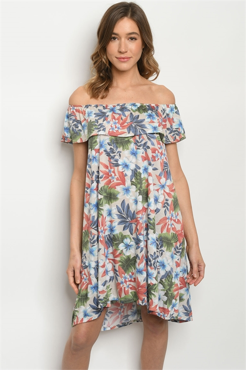 C30-A-2-D8765 TAUPE FLORAL DRESS 2-2-2
