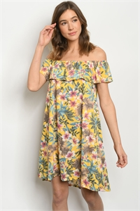 C30-A-2-D8765 YELLOW FLORAL DRESS 2-2-2