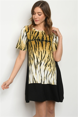 C40-A-1-D5135S BLACK ANIMAL PRINT DRESS 2-2-2