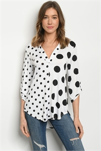 C44-B-1-T3288S WHITE BLACK WITH DOTS TOP 2-2-2