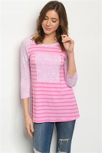 C56-A-1-T5128S PINK STRIPES ANIMAL PRINT TOP 2-2-2