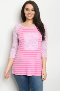 C51-B-1-T5128XS PINK STRIPES ANIMAL PRINT PLUS SIZE TOP 2-2-2