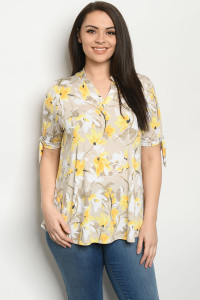 C35-A-1-T3943XS TAUPE YELLOW PRINT PLUS SIZE TOP 2-2-2