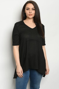 C49-A-3-T51034XS BLACK PLUS SIZE TOP 2-2-2