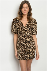 S12-12-2-D5242 BROWN LEOPARD PRINT DRESS 2-2-2