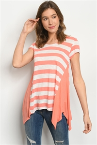 C39-A-3-T7424 CORAL IVORY STRIPES TOP 2-2-2