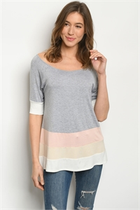 C31-A-2-T1589 GRAY PEACH TOP 2-2-2