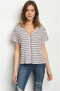 C19-B-2-T3309 WHITE RED STRIPES TOP 2-2-2